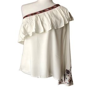 Lulumari one shoulder embroidered top size L